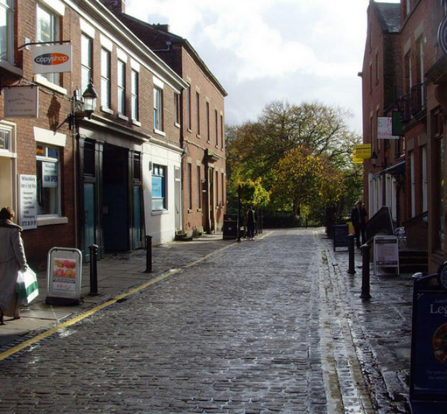 Winckley Street has a number of cafes and restaurants on its cobbled street