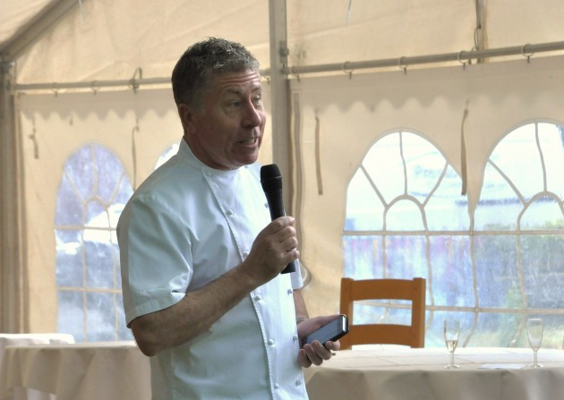 Paul Heathcote addresses the Business Hangout meeting at the Winckley Weekender event