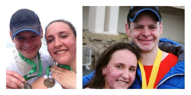 Ben and wife Louise with medals after 10k and pictured on the right after the Blackpool Marathon