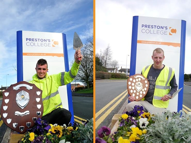 Preston's College bricklayers Oliver Evans and Tom Mountain who are heading to national finals after regional competition successes.
