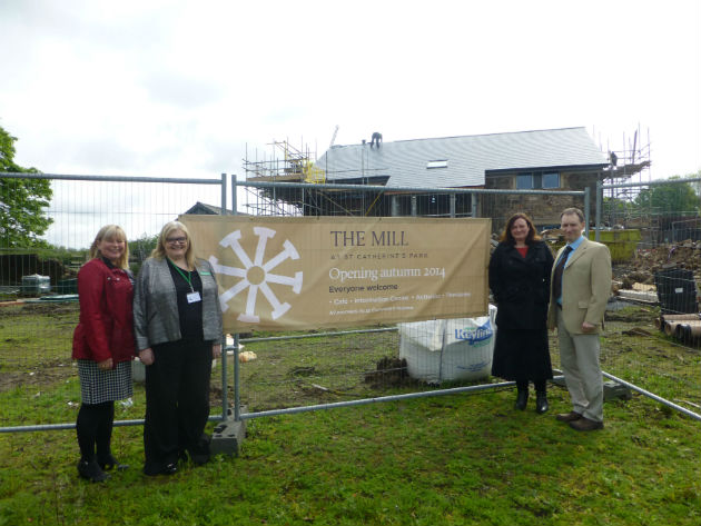 Lymphoedema services manager Debbie Murphy, Commercial Catering Manager Nicola Hanmer, Head of Education Lynn Kelly and Hospice Chief Executive Stephen Greenhalgh, at the site of The Mill
