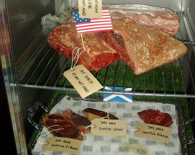 Meat in the chiller cabinet