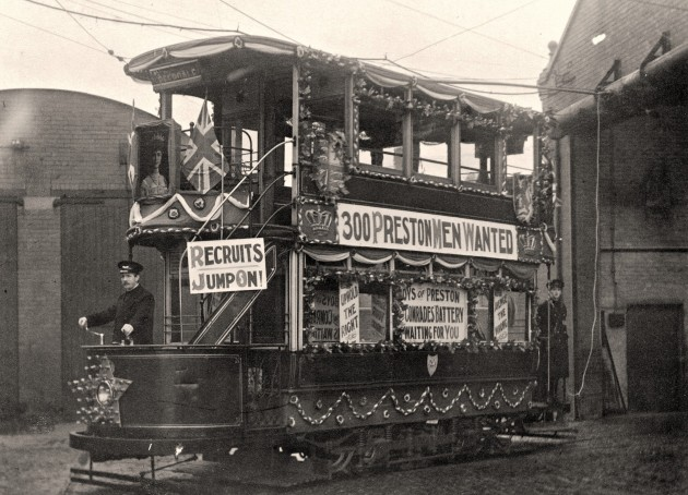 Preston Corporation tram on a recruiting drive for the Preston Pals, Deepdale Depot,1914