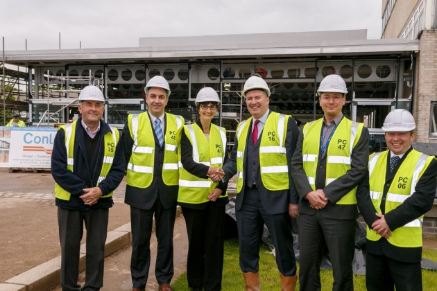 L-R Eric Conway (Site Manager), Chris Wood (Vice Principal, Excellence and Learning - Preston's College), Lis Smith (Principal, Preston's College), Michael Conlon (Chairman, Conlon Construction), Carl Speight (Vice Principal, Enterprise and Engagement), John Blow (Quantity Surveyor, Conlon).
