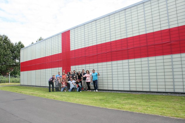 The firms headquarters takes a patriotic turn for the World Cup