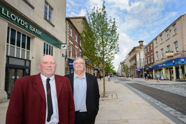 County Councillor Fillis and Deputy Leader of Preston City Council John Swindells on Fishergate