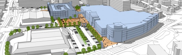 An artists impression of how the Queen Street retail park could look