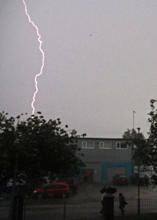 Manchester Road view of lightning strike