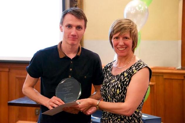 Liam Jackson accepting his award