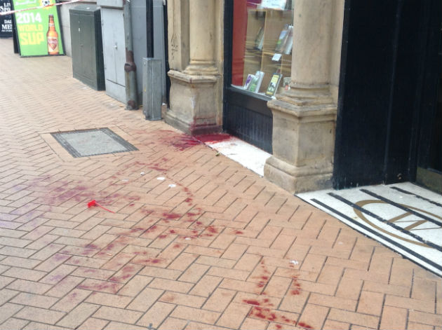Blood splattered on the pavement on Fishergate
