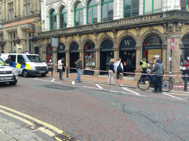 Police cordon outside Waterstones