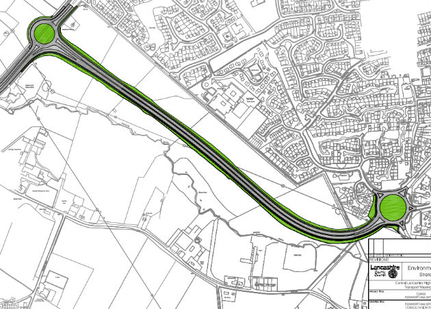 The proposed route of the Penwortham bypass
