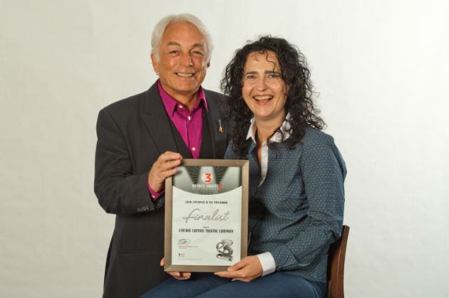 Certain Curtain Theatre founders with their finalist certificate
