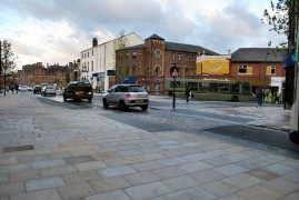 Westerly view of the completed new look Fishergate with it's 'shared space' highway