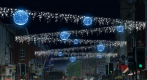 An artists impression showing the Christmas lights down Fishergate