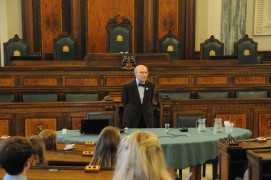 Stephen Breuer talking in Lancashire County Hall about the Holocaust