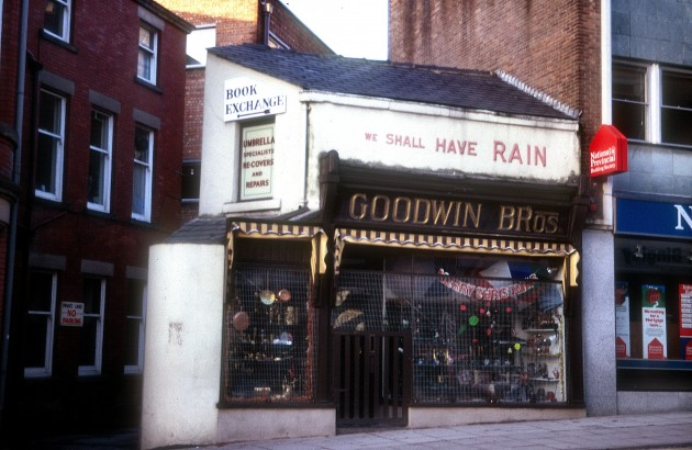 Goodwin Bros (umbrella sellers), Orchard Street, Preston c.1969