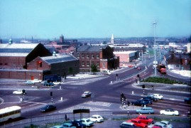 North Road with Saul Street Baths and Pentecostal Church, Preston 1971
