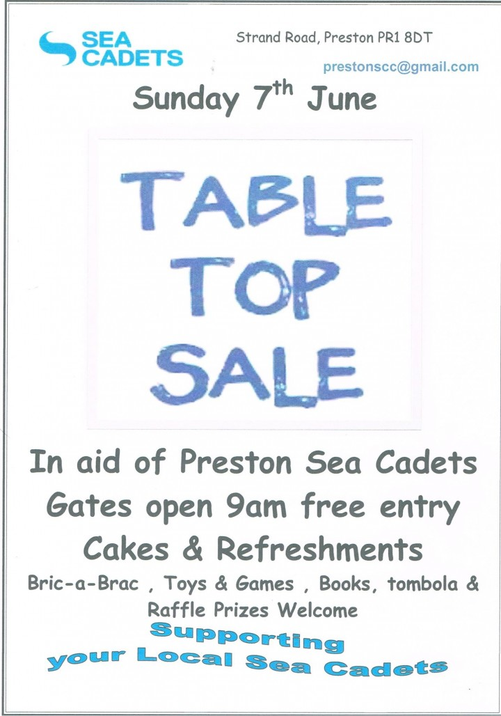 Sea Cadets Table Top Sale Poster