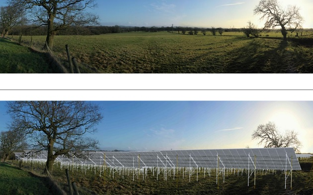 How the view of the solar panels would look from the northern edge of the field