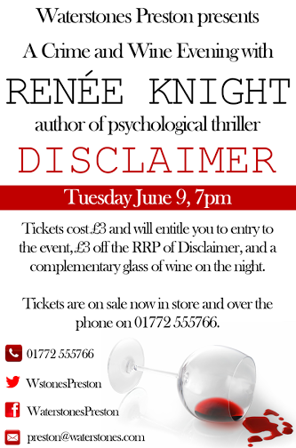 Renee Knight, one of four author events to be hosted by Waterstones in coming weeks
