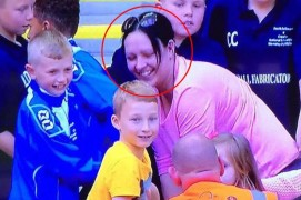 Woman was caught on camera taking shirt from young fan