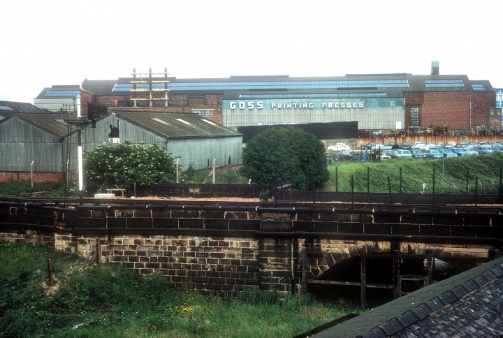 View of Goss Printers from Steam Mill with Canal & Railway, Preston c.1972