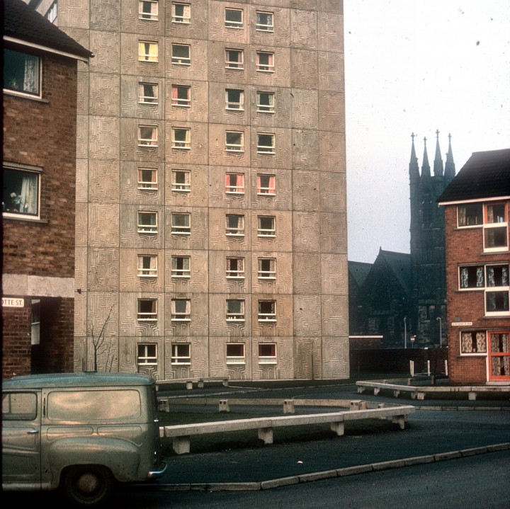 Avenham Flats, Charlotte Street and St Saviours Church, Preston 1967