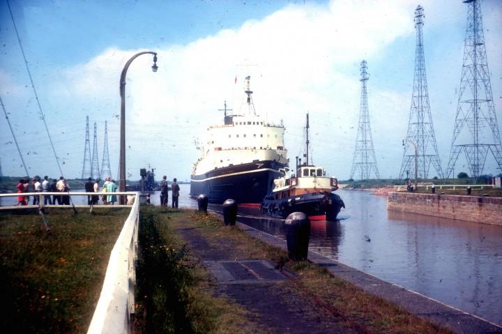 Ionic Ferry entering Preston Docks c. 1976