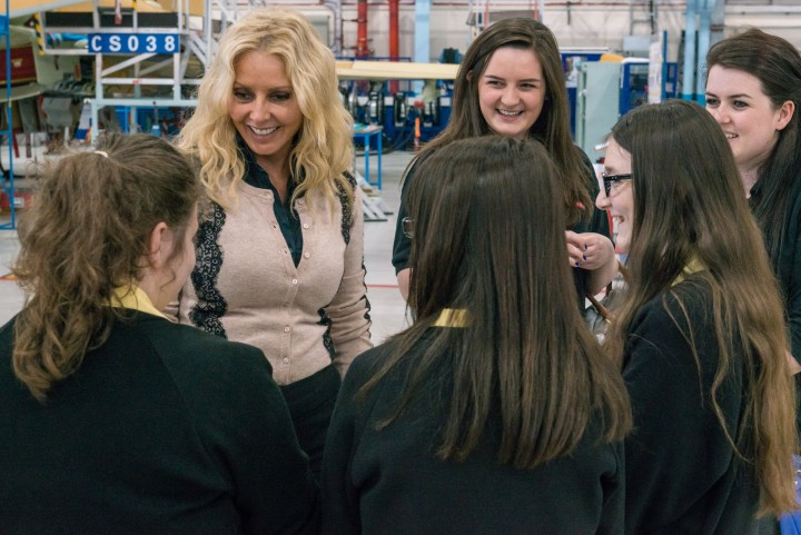 Carol Vorderman chats to Ashton pupils