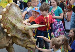 Children had the chance to get up close and personal with dinosaurs
