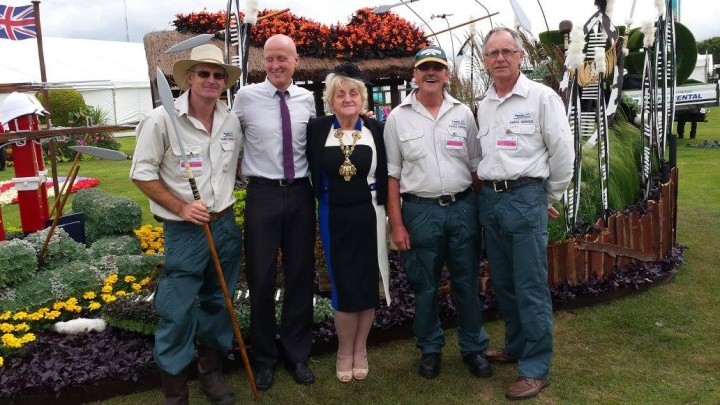 Mayor of Preston, Councillor Margaret McManus alongside Avenham & Miller Parks manager Don Ingham and the Council's Parks nursery team members Tony Lewis, Brian McNeill and Alan Rampling