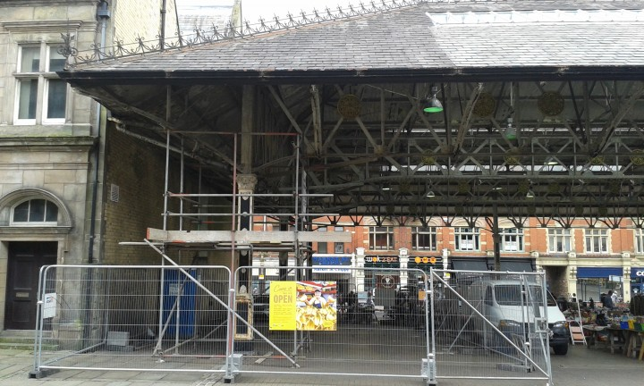 Scaffolding in a corner of the Fish Market as canopy investigations begin