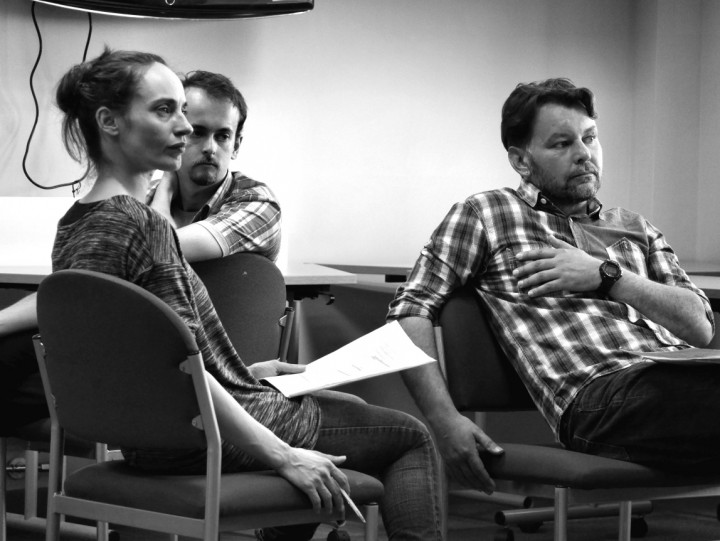 Three of the actors during a rehearsal. Left to right, Kitty Randle, Sean Chriscole and Stephen Bird