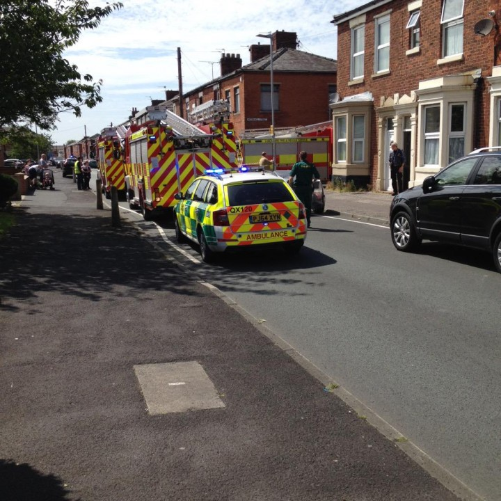 Fire crew and ambulance at the scene in Moor Hall Street Pic: @thespencer