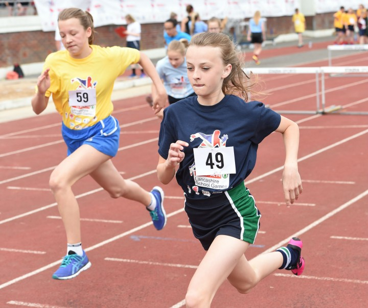 Abbie Fletcher of Broughton School in the hurdles
