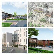 Four developments from top left clockwise: Cottam Hall, Adelphi Square, Eastway retail park and Friargate Court