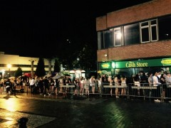 Queues outside the venue on A level results night Pic: Macs bar, Facebook
