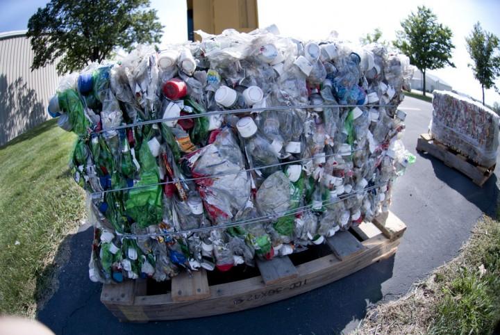 A plastics recycling bale Pic: recycleharmony