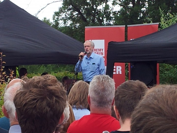Corbyn on stage Pic: Cat Walker