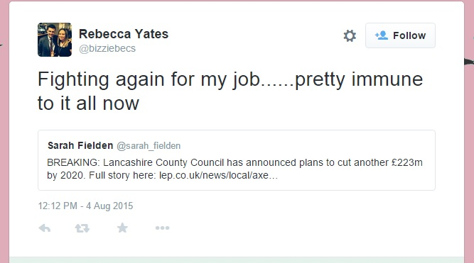 Councillor Rebecca Yates voiced concerns on Twitter