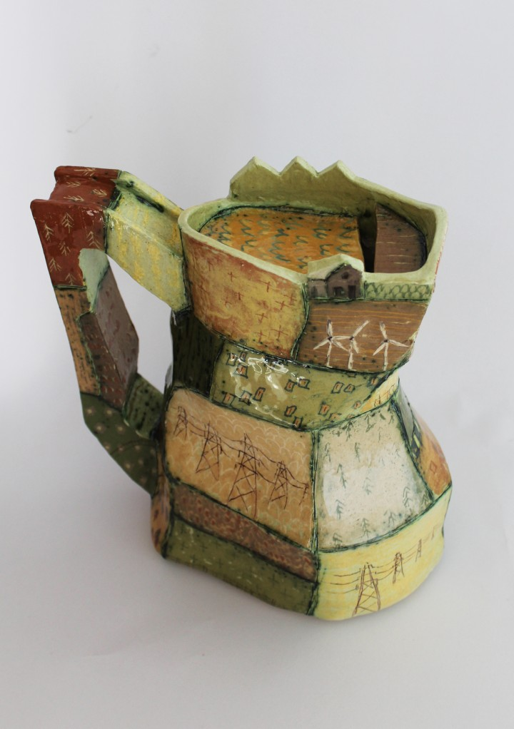 Patchwork Earthernware jug by Colin Jowitt member of the Northern Potters Association