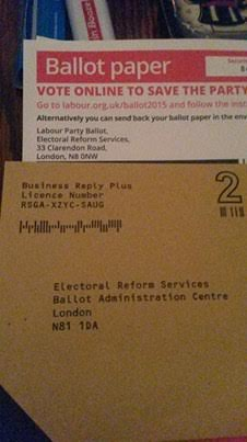 The two addresses, with different postcodes, spotted on a ballot paper and envelope