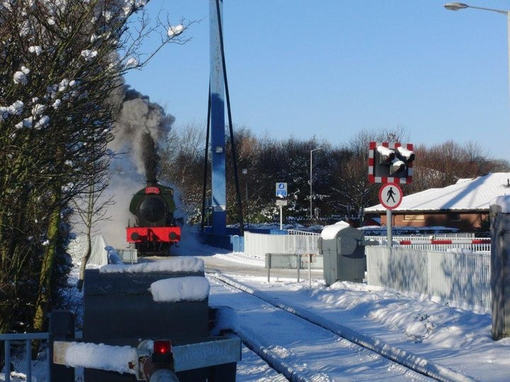 A previous Santa Special steam train in the snow