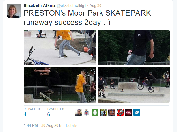 Councillor Atkins sharing her views on the new Skate Park on Twitter over the weekend