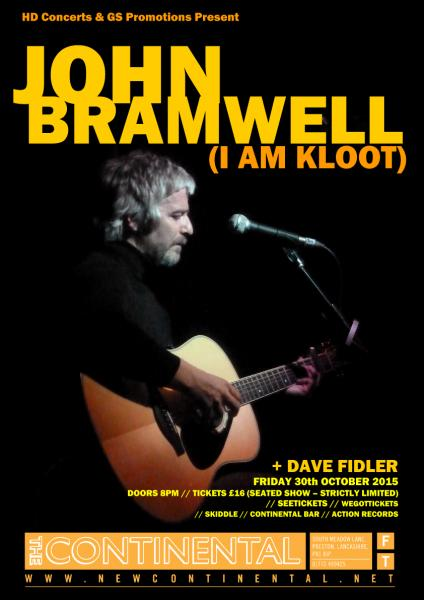 John Bramwell will be performing at The Continental later this month