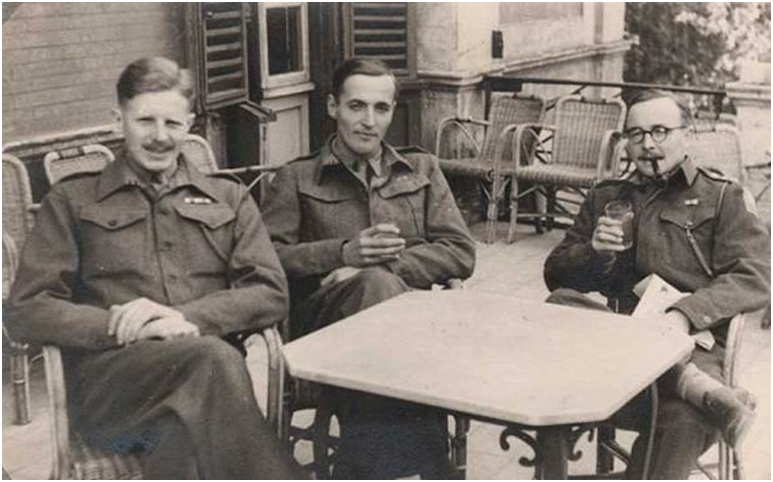 John Winn (left) with other officers from the Loyals at the Trocadero in Rome in 1944
