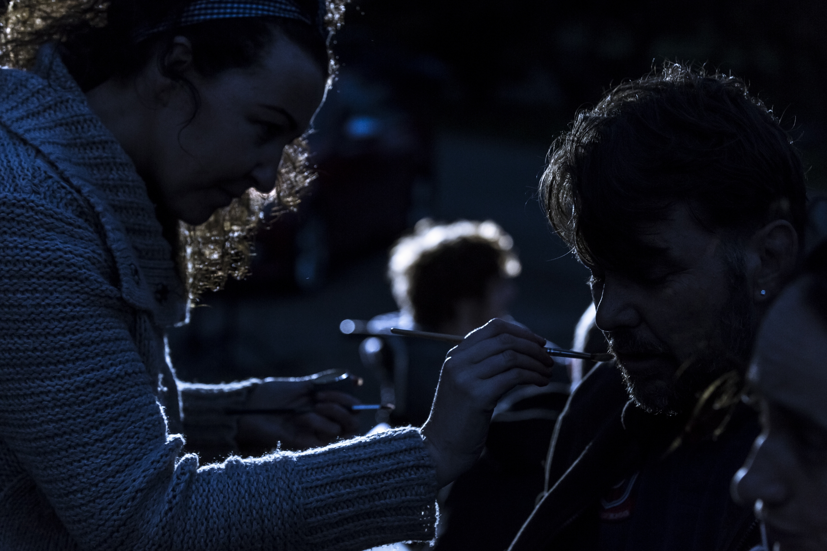 A quick touch of makeup during takes of The Blackout