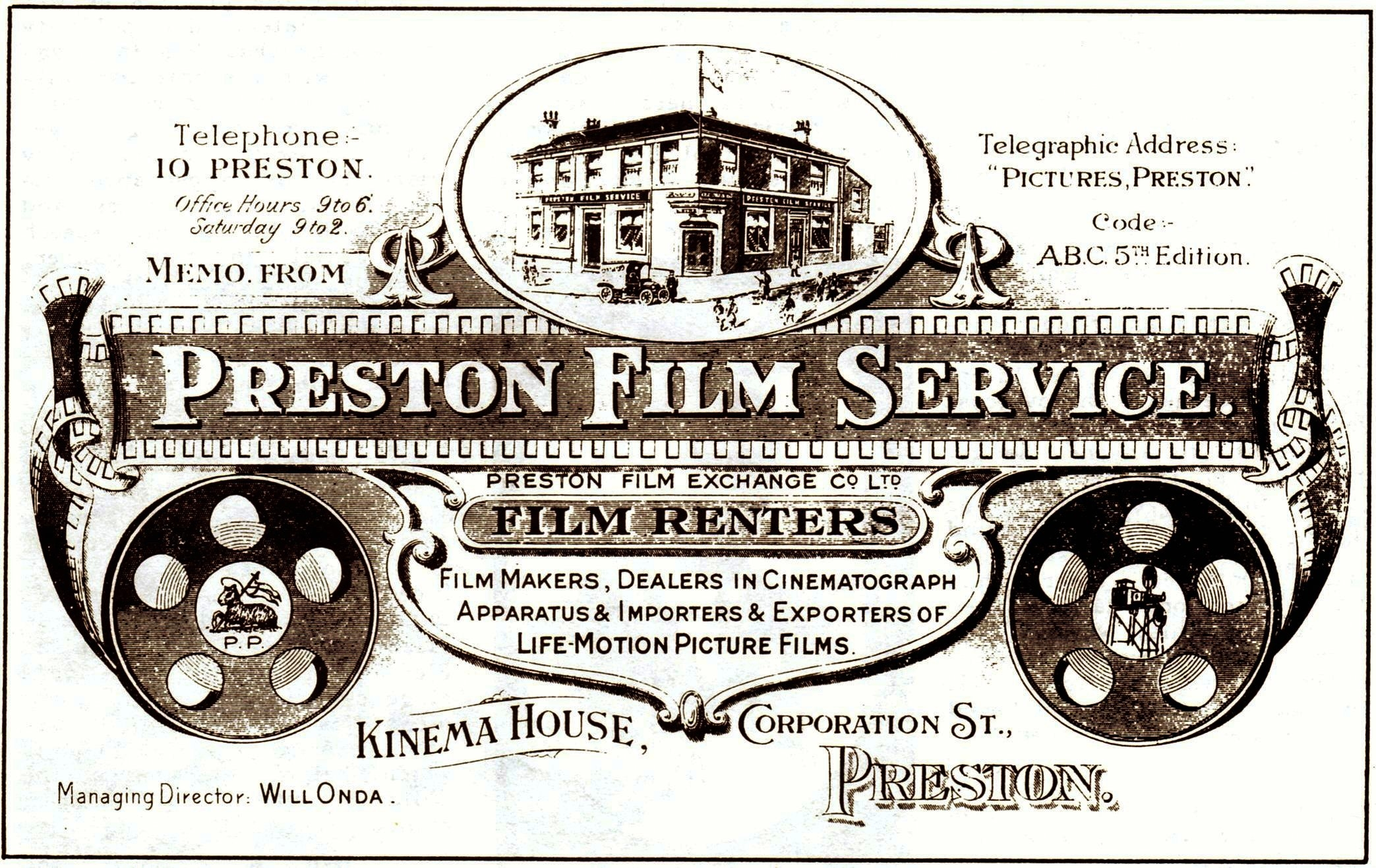 Preston Film Service: Invoice Header