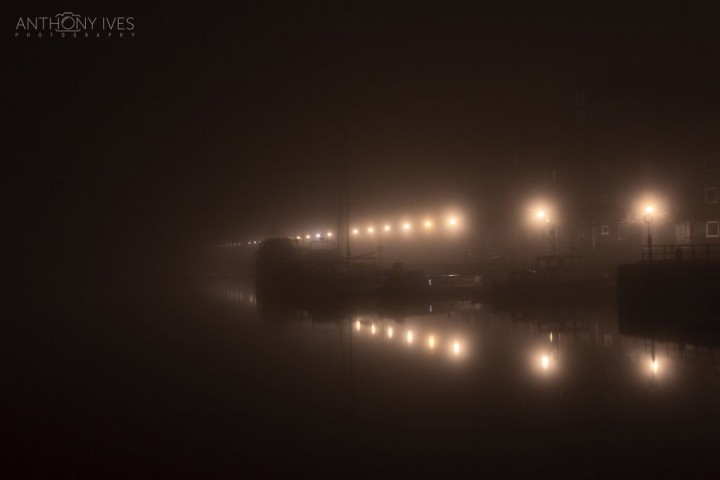 Fog hanging over Preston Dock on Monday morning Pic: Anthony Ives